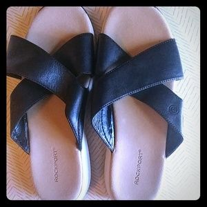 Rockport black slip on sandals